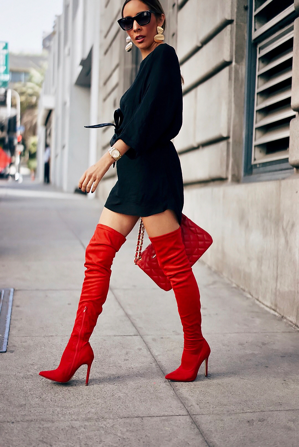 How To Wear Red Thigh High Boots